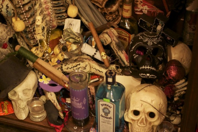 Crazy altar cluttered up with all sorts of magic madness