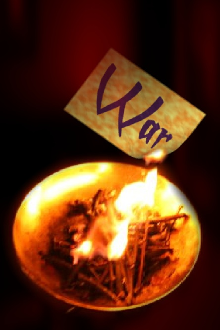 Fire spell burning paper in a fire with the word war written on it